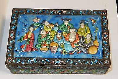 Old Cloisonne Repousse Enamel Chinese People Design Humidor Jar Box
