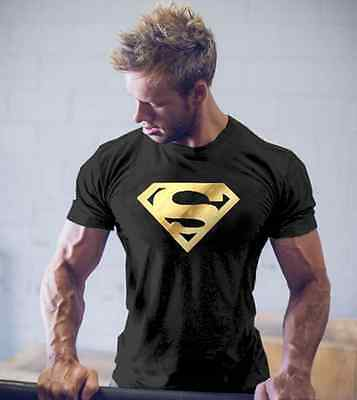 Men Superman T-Shirts Workout Gym Tank Bodybuilding Fitness Sport Tee