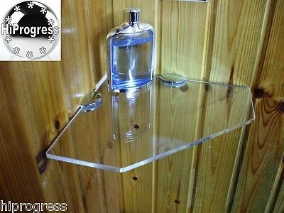 Bathroom Shower Wall Corner Clear Acrylyc Plexi-glass Floating Shelf 25X25 cm