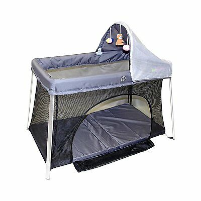 ElanBambino Portable Crib with front/top access and mosquito net, sun canopy.