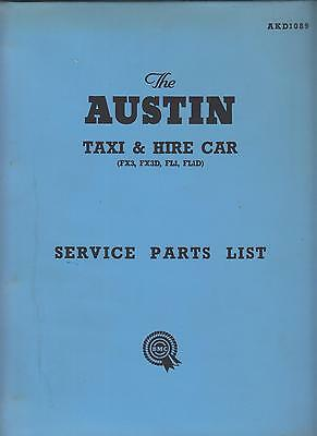 Austin Fx3 Fx3D Fl1 Fl1D Taxi & Hire Car 1948-1958 Orig. Factory Parts Catalogue