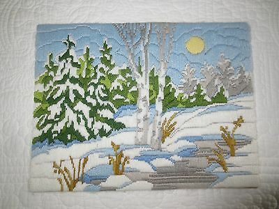 """Vintage SNOWY WINTER COUNTRY SCENE Longstitch Crewel Embroidery - 10.5"""" x 13.5"""""""