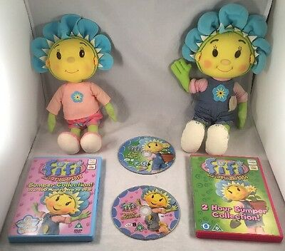 Bundle of 2 Fifi and the Flowertots DVD's And Soft Toys Bundle young children