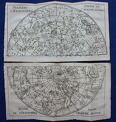 Original antique CELESTIAL CHART, MAP OF STARS, S. Hemisphere, La Pluche 1752