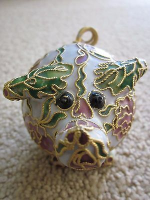 Asian Collectible Decorated Hand-Work Cloisonnne Pig Figurine