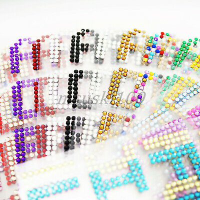 Alphabet Letters Stickers Rhinestones Self Adhesive Crystal Diamante Stick On