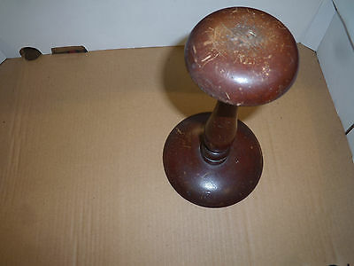 Old Wooden Wig / Hat Stand /sock mending vintage solid 25 x14.5 cm dia