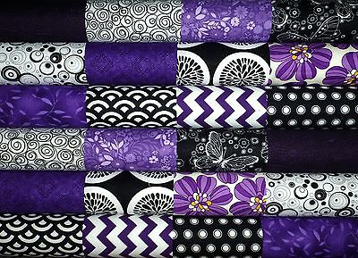 24 Purple Black White Cotton Fabric Quilting 5 inch Charm squares #87