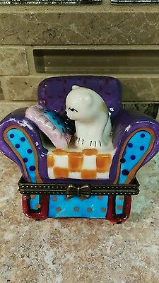 Cat On Sofa Hinged Trinket Box Purple/Pink/Blue/Orange~Collectible!