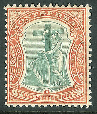 Montserrat 1904 green/orange 2/- multi-crown CA mint SG31