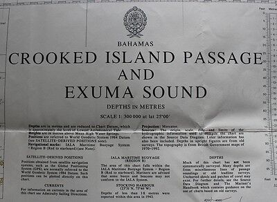 3913 Bahamas Crooked Island Nautical Chart Map Navigation Rare Collectable