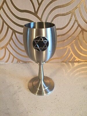Lovely Judaica Pewtwr Goblet With Star Of David Design