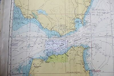 773  Strait Of Gibraltar Spain Nautical Chart Map Navigation Rare Collectable