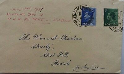 Great Britain 1937 Cover With King Edward Viii Stamps Duke Of Windsor Marriage