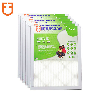 "Filters Fast 1"" Home Air Filters Merv 13 - Case of 6 Filters Made In The USA"
