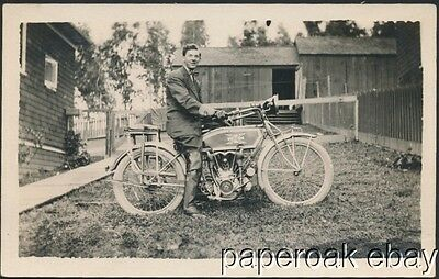 Excelsior Motorcycle Original Real Photo Postcard ca.1910
