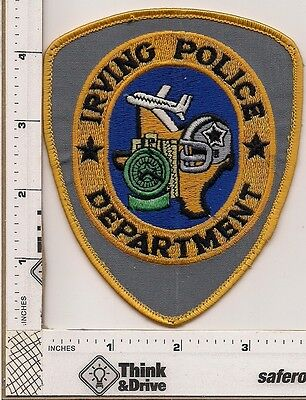 Irving Police.Texas. Grey Background.