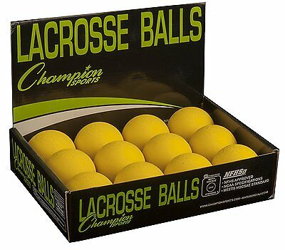 Champion Sports Official Lacrosse Balls - Pack of 12, Yellow