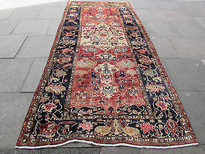 Old Traditional Persian Rugs Wool Faded Pink Oriental Hand Made Rug 332x162cm