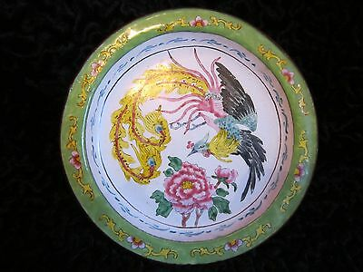Antique Vintage Chinese Canton Enamel Copper Dish Plate Famille Vert Bird Rose