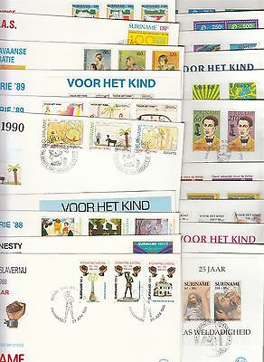 Suriname collection of 22 different FDC's