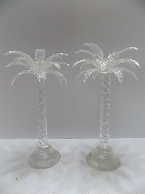 Pair Of Glass/crystal Palm Tree Taper Candle Holders