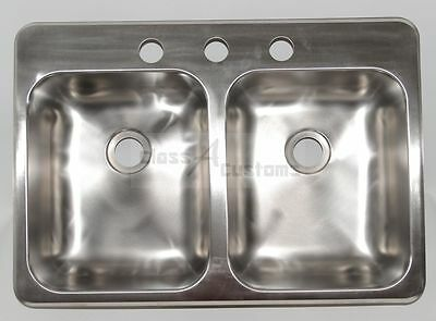 Attirant 25 X 17 Stainless Steel Sink Double Bowl Holes Rv Trailer Kitchen SSD 25173