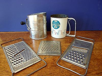 5 Vintage Collecible Kitchen Gadgets....flour Sifter & Graters