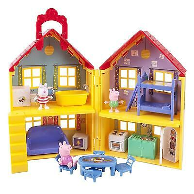 NEW Peppa Pig Playhouse Deluxe Set Play House Figures Toddler Kids Toy Doll