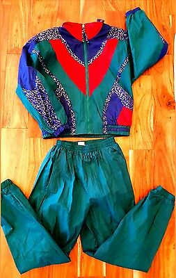 Vtg NWT Track Suit 80s 90s nylon WarmUp Jacket Pants M Run Dmc Parissport Hiphop