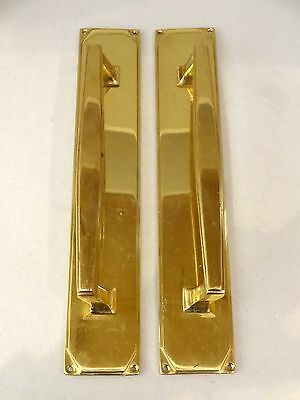 "3rd PAIR LARGE 14"" BRASS ART DECO DOOR PULL HANDLES KNOBS PLATES FINGER PUSH"