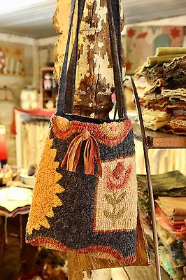 "Primitive Hooked Rug Pattern On Linen ""Spring Boho Bag"""