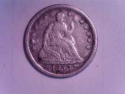 """1853 10C  Seated Liberty Half Dime  w/Arrows  90% silver """"Nice Coin"""" circulated"""