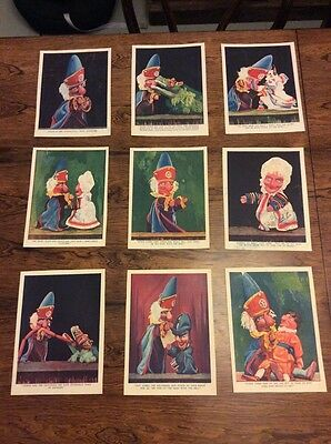 A collection Of Nine 1930'S Vintage Punch & Judy Pics/plates - For Framing