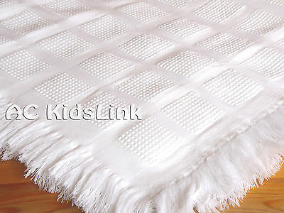 New Bee Bo White Baby Shawl with Fringe, Check Pattern Baby Boys Girls 122x122cm