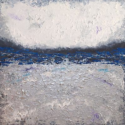 ORIGINAL SILVER TEXTURED PAINTING ON CANVAS. CONTEMPORARY ABSTRACT ART 60x60cm