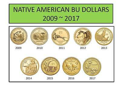 2009-2017 Mint Roll Sacagawea Native American 9 Coin BU Uncirculated Dollar Set