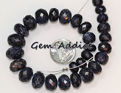 """Dark Blue Sapphire 7-12.5mm Faceted Rondelle 29 Beads 8"""" St 46g/230cts"""