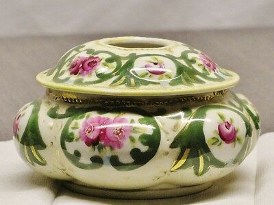 ANTIQUE HAND PAINTED NIPPON HAIR RECEIVER Pink Floral & Green - EXCELLENT