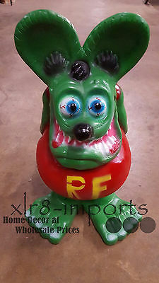 RAT FINK 2' CAST ALUMINUM Statue Mobile Texaco Gulf Gas & Oil Garage Hot Rod.