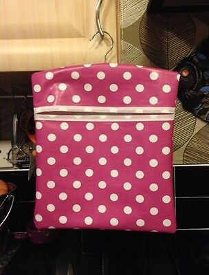 Home made PEG BAG Oil cloth Chic Gift . Spotty dotty PINK Spot washing day..