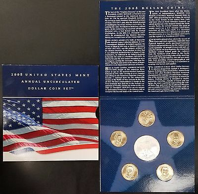 2008 United States Mint Annual Uncirculated Dollar Coin Set! Six coins!