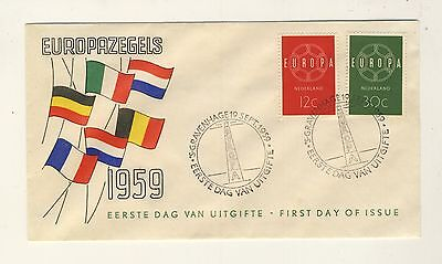 PAYS-BAS / NETHERLANDS - 1959 Michel 735/736 EUROPA FDC - superbe