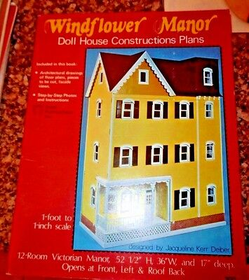 "Windflower Manor Dollhouse Constructions Plans~ 12 Rooms 52.5""h X 36""w X 17"" D"