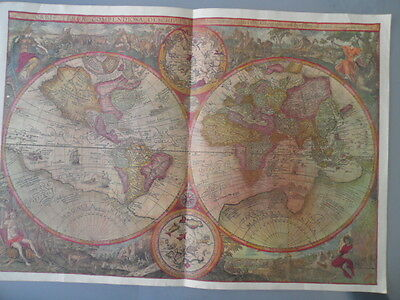 Old World Map ITINERARIO Vintage Antique Reproduction Earth Globe Engraving 1596