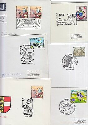 Tennis Austria Oesterrreich 6 covers/cards/postmarks