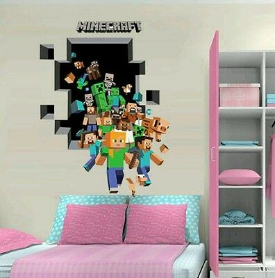 Mine Game Wall Stickers Craft Decal For Boys Girls Room.brand New