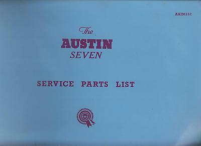 Austin Seven ( Mini ) Saloon Original 1959-1961 Factory Service Parts Catalogue