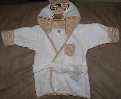 Hudson Baby Hooded Giraffe Face White Bathrobe New/Size:  0-9 Months