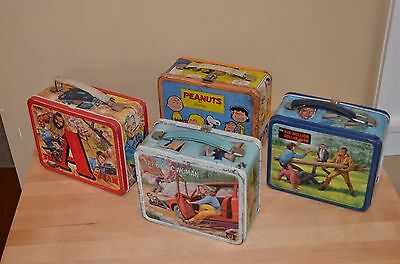 Lot 4 RARE Vintage Collector Metal Tin Lunch Box BIONIC WOMAN A TEAM 6 MIL $ MAN